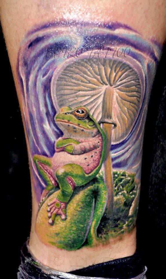 #tattoostudio #nadelwerk #colour #frog #leg #realistic #tattoo