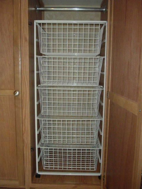 One Pinner said: Closet Shelves and Wire Baskets | ModMyRV. I used the ELFA system from the container store. The wardrobe turned into a pantry works for us.