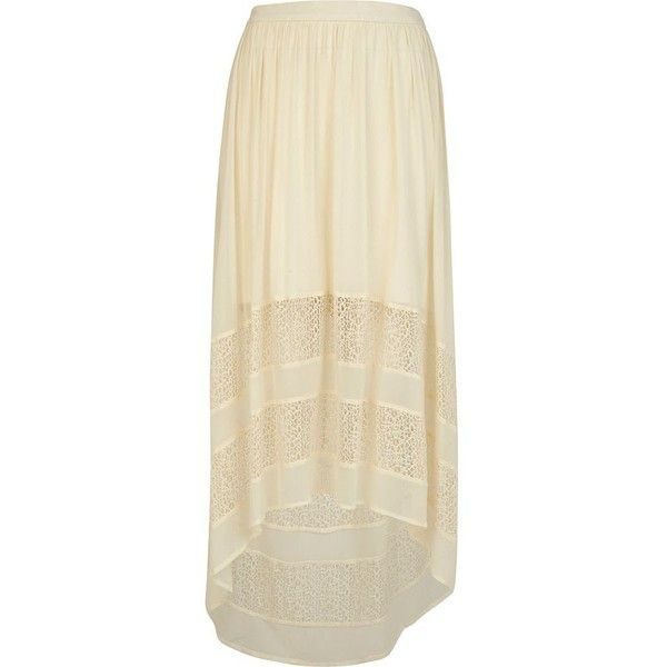 River Island Cream raised front maxi skirt (€17) ❤ liked on Polyvore featuring skirts, bottoms, maxi skirts, sale, summer maxi skirts, long beige skirt, river island, floor length skirts and beige skirt