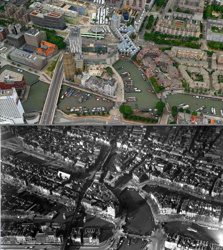 1935-2014. Witte Huis en Oude Haven. Gezien vanaf de Maas.