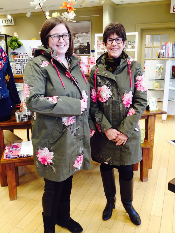 Mari and Becky sporting the new Joules USA​ Waterproof Parka in Grape Peony. Stop by our #Evanston store and try one on yourself!