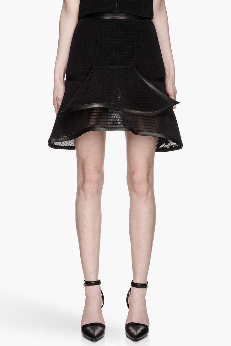 Mugler Black Net And Leather skirt
