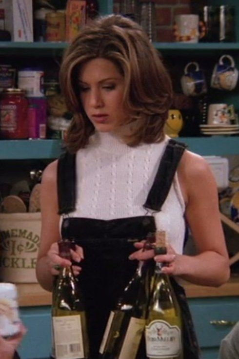 """Dungaree shorts   20 Things Rachel Wore In """"Friends"""" That You'd Definitely Wear Now"""