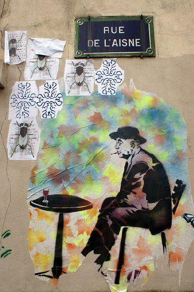 Jacques Prévert sur les murs de la rue de lAisne... (Paris 19ème)