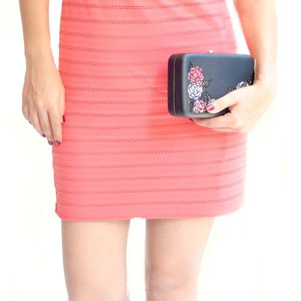 Rosa (black) - #rachanareddy #bags #clutch #india #wood #handcrafted #woodenclutch #fashion #elegant #nostalgic #summer #statementaccessory #ss14 #campaign #ecofashion #easybreezy #sorbet #roses   Shop here: www.rachanareddy.com