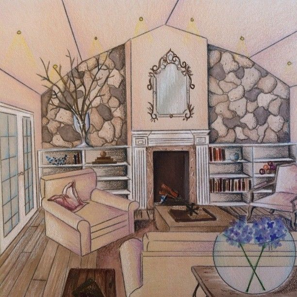 27 best images about perspective rendering on pinterest for Living room 1 point perspective