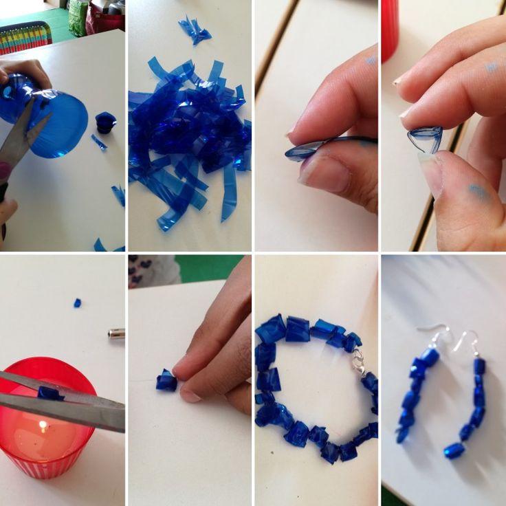 Bracciali e orecchini con bottiglie di plastica riciclate