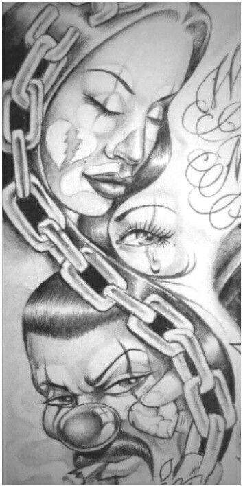 17 beste afbeeldingen over art op pinterest latina for Chicano clown girl tattoos