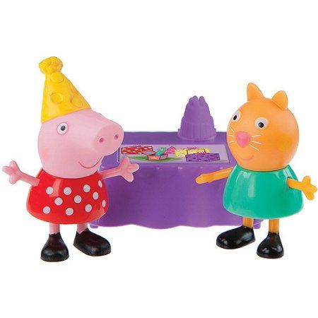Peppa Pip Peppa and Candy Cat Birthday Party Figures Pack, Multicolor