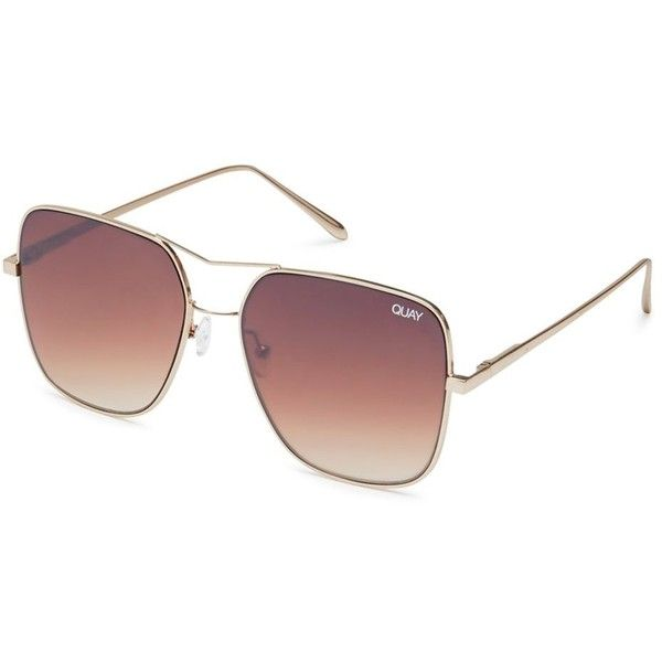 Stop and Stare Sunglasses by Quay Australia ($58) ❤ liked on Polyvore featuring accessories, eyewear, sunglasses, gold and beach sunglasses