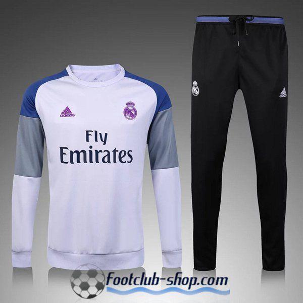 Survetement de foot Enfant Real Madrid Blanc/Gris 2016 2017