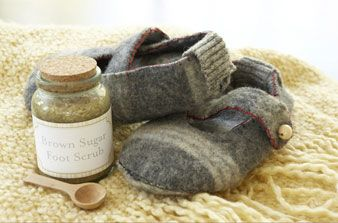 boiled wool slippers to make from recycled sweaters or coats