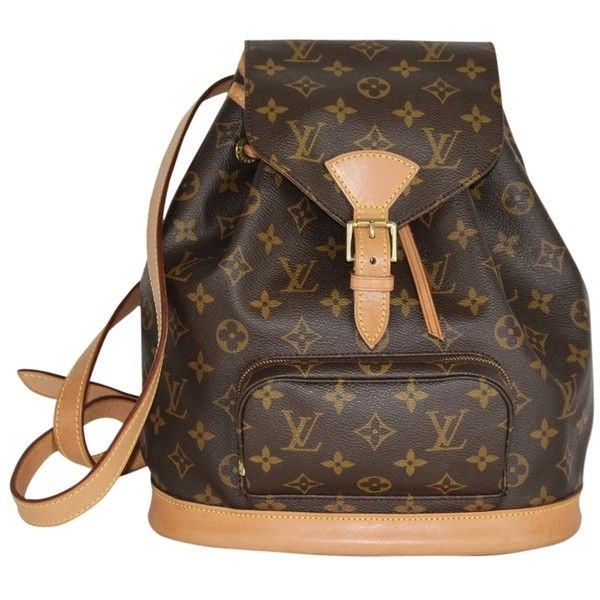 Pre-owned Louis Vuitton Montsouris Mm M51136 2546 Backpack (£700) ❤ liked on Polyvore featuring bags, backpacks, monogram, leather rucksack, genuine leather backpack, travel backpack, buckle backpack and brown leather rucksack