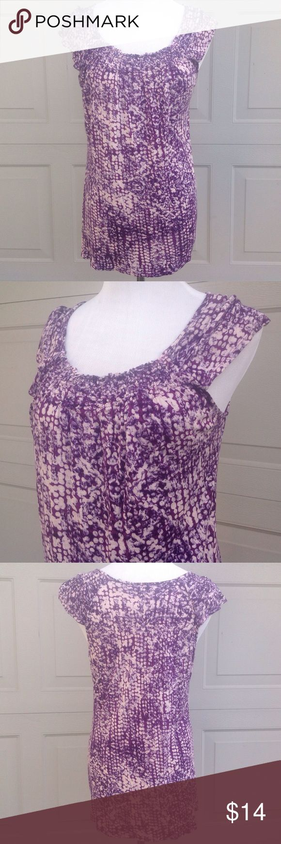 Fresh Purple and White Sleeveless Top - Small Smocked neckline, purple and white pattern, loose fitting top. 100% Rayon Fresh Tops