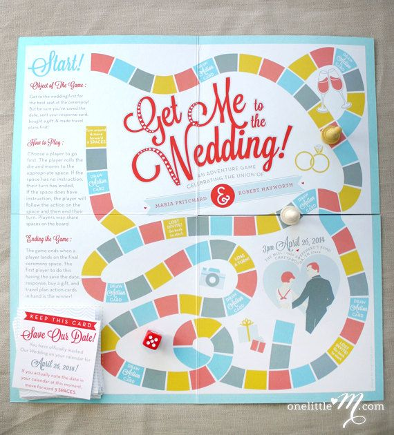 Get Me to the Wedding Playable Board Game Wedding by onelittlem