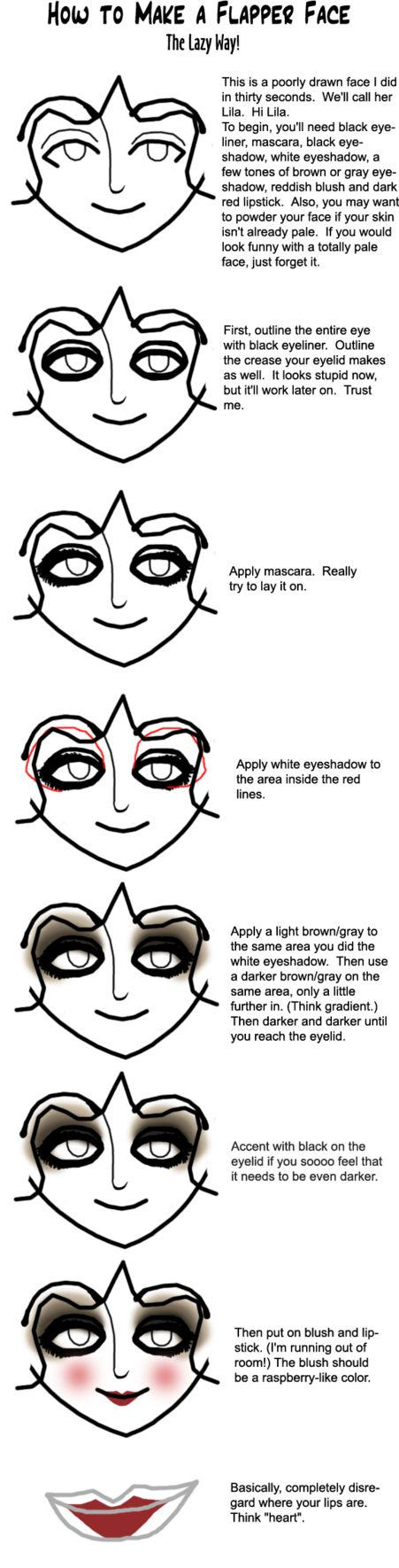 Fudging Flapper Makeup--easy step-by-step instructions. I was able to recreate this look with $11 worth of drugstore cosmetics ;)