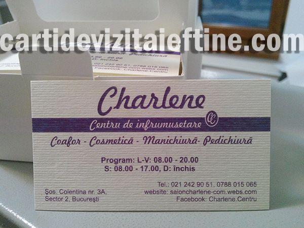 Astazi va prezentam carti de vizita tiparite pe carton crem cu striatii, pentru clietul nostru Centrul de infrumusetare Charlene. Procedeul de tipar este realizat prin print digital cmyk la rezolutie 300 dpi, tipar color o singura fata. http://cartidevizitaieftine.com/5652/carti-de-vizita-pe-carton-crem-cu-striatii/