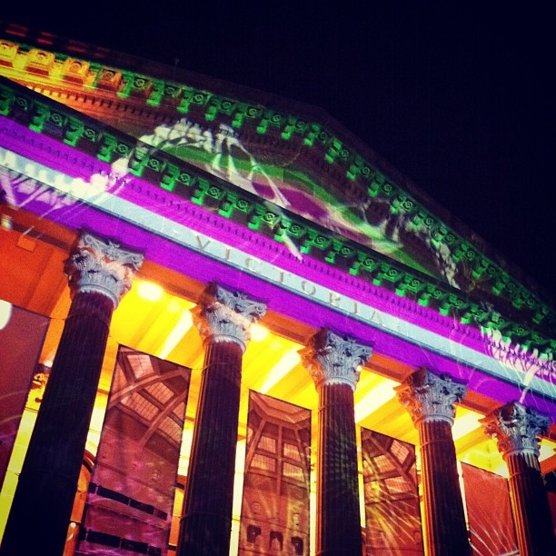 State Library of Victoria. Incredible illuminations for White Night Melbourne, 23 Feb 2013