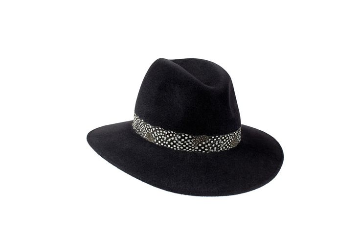 The Willow Fedora Collection | Charcoal Black | Guinea Fowl Feather Band www.penmayne.com #fedora #hats #accessories