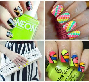 7 Ways to Rock Fluorescent Nails now if i could just find someone to do my nails like this:)