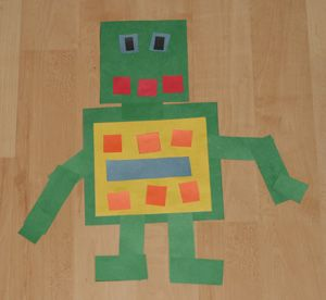 I was inspired by this robot craft. Each child was given a square for the body and a smaller square for the head. We provided various sizes of strips of paper that they were able to use to create robot arms, legs, hands and feet. Simple enough for toddlers and just complicated enough to let our preschoolers get really creative.