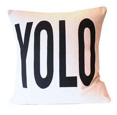 YOLO Pillow Cover by Society Social. You Only Live Once! @francescadelcol