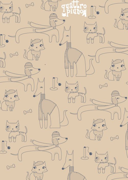 #Wallpaper #quattropiuno beige #adorable #cats&dogs