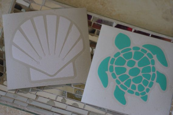They will do custom orders too. Sea Turtle or Scallop Shell Vinyl Decal - Beach Decal - Shell Decal - Car Decal $3.75