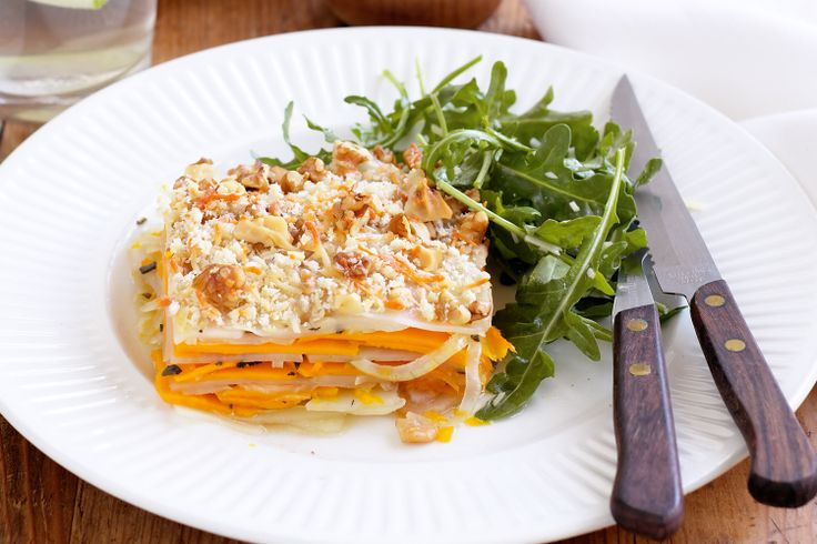 Your vegie-packed winter warmer is here - serve this crunchy topped pumpkin bake as a side tonight!
