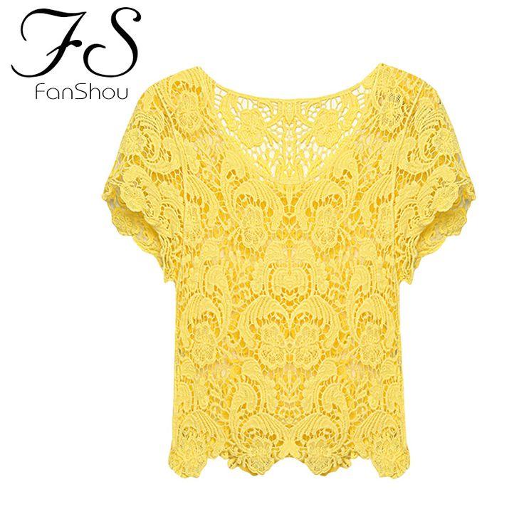 Fanshou envío gratis nueva primavera verano 2014 mujer Blusas ahuecan hacia fuera camisas de encaje Casual Floral Crochet encaje blanco Tops Blusas en Blusas y Camisas de Moda y Complementos Mujer en AliExpress.com   Alibaba Group