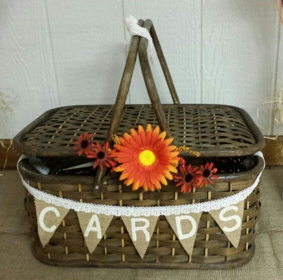Card basket for fall theme bridal shower