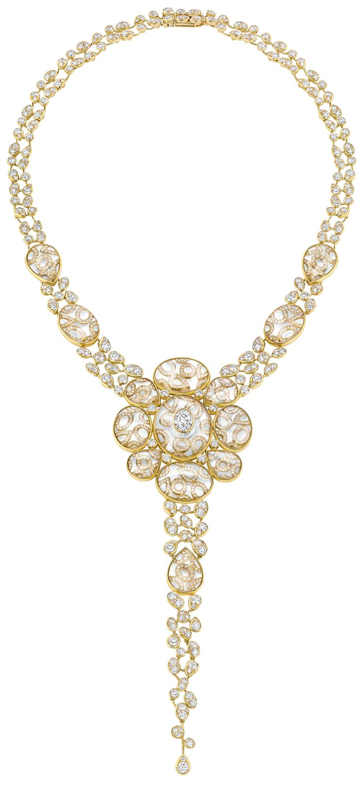 """""""Magnetique"""" #Necklace from #TalismansDeChanel - #Chanel - #FineJewellery collection in 18K yellow gold set with a 1.5 carat #OvalCut - #Diamond, 1151 #BrilliantCut - #Diamonds (total weight 21.2 carats) and 28 #CabochonCut crystals (total weight 101 carats) july 2015"""