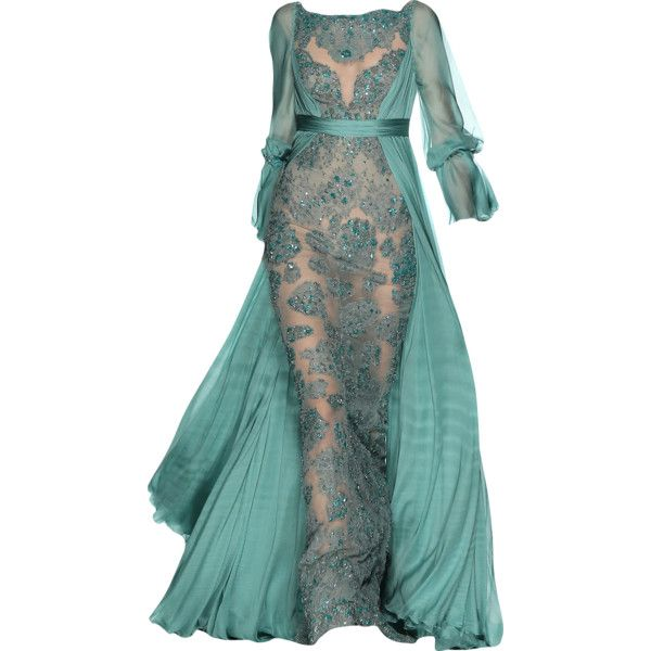 Jack Guisso - edited by mlleemilee ❤ liked on Polyvore featuring dresses, gowns, long dresses, evening gowns, green evening dresses, green ball gown, green dress and green gown