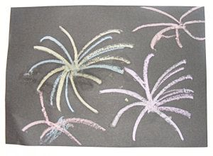 Sparkly chalk fireworks craft - Bonfire night, Independance Day, or any other event using fireworks