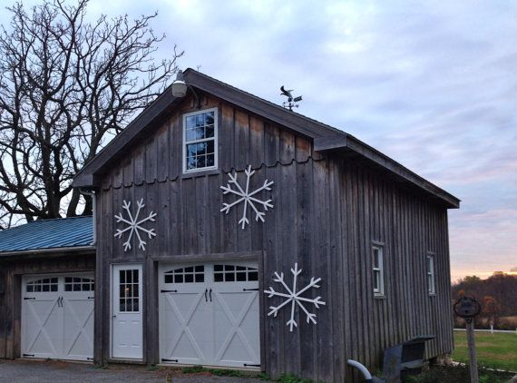 Christmas Decor, Christmas Decoration, Winter Decoration, Winter Decor, Large Snowflake, Rustic Christmas, Farm Christmas, Barn, Snowflake decorations, Sparkle, Snowflake, Snowflake Decoration, Large White Outdoor Painted Wood Snowflake with by BlackBellFarm, Etsy $25.00