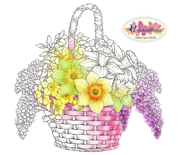 Flower Basket Line Drawing : Digital stamp instant download easter basket of flowers