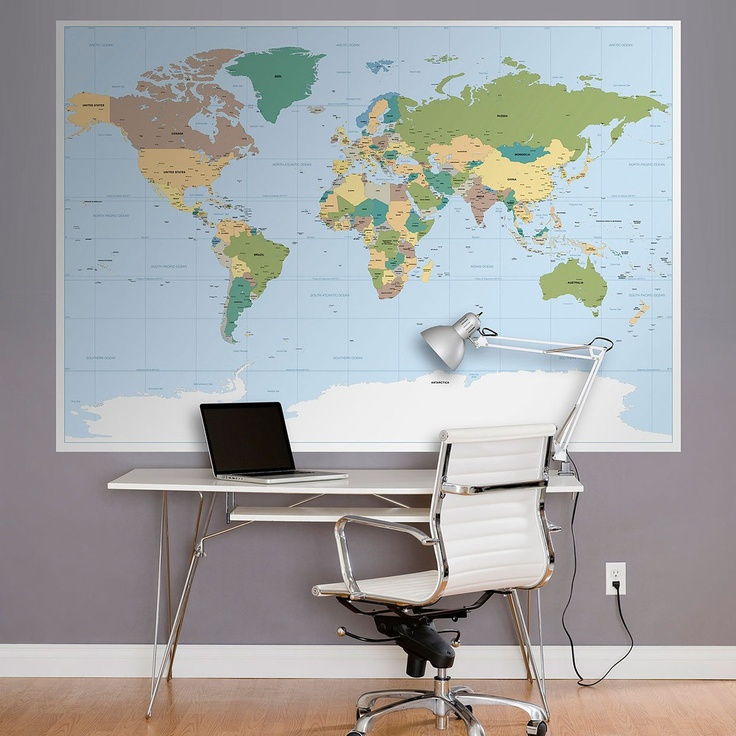 Map wall mural 2017 grasscloth wallpaper for Executive world map wall mural