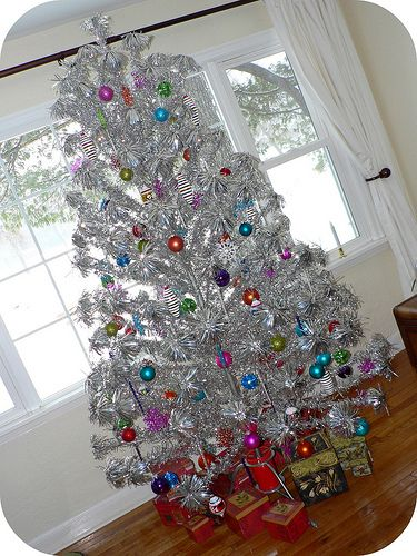 aluminum christmas trees my gram had one we had a real tree until the early i worked at a local small store and decorated all the artificial trees - Vintage Silver Christmas Tree