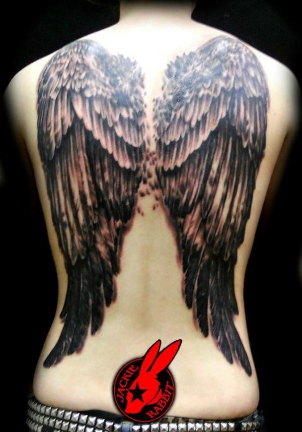 Angel wings back tattoo - 60 Holy Angel Tattoo Designs  <3 !