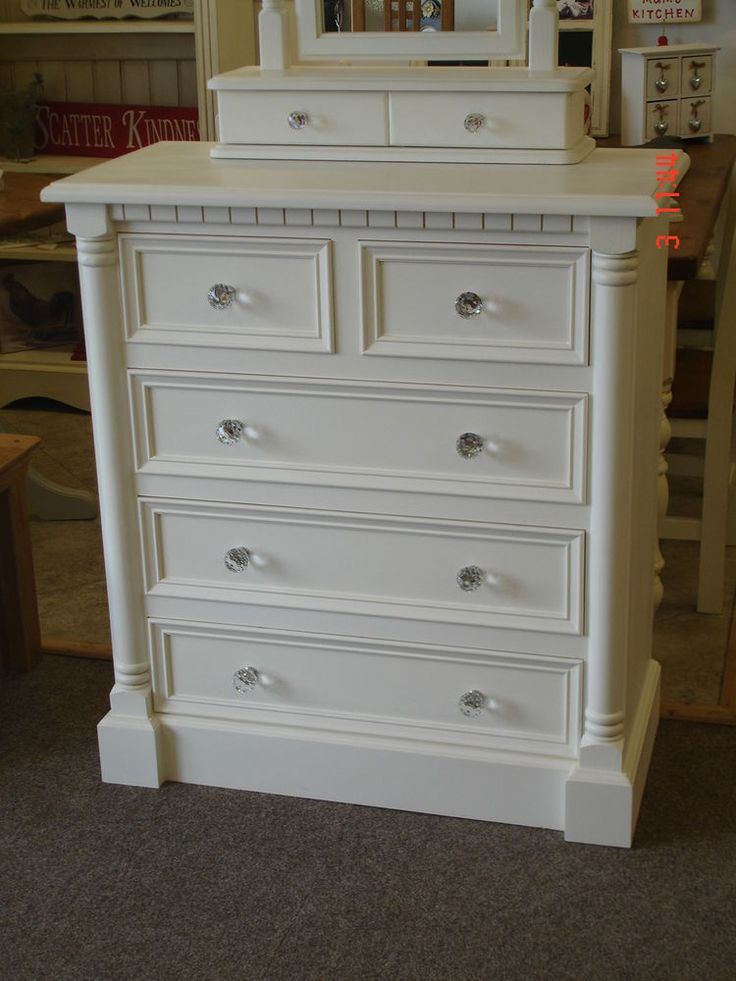 Jali Style Shabby Chic French White Painted 2 / 3 drawer Solid Wood Pine  Chest