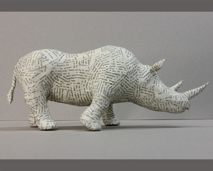 Paper Mache Ideas For Home Decor Part - 49: RHINO PAPER MACHE Sculpture, Animal Home Decor, Recycled Paper Figurine By  LalkowniaPaperArt On Etsy