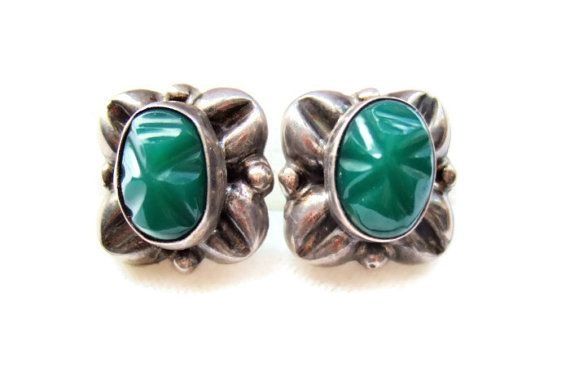 Vintage Mexican silver and carved green stone earrings. Handmade. https://www.etsy.com/inglenookery/listing/180982262/vintage-mexican-silver-and-carved-green