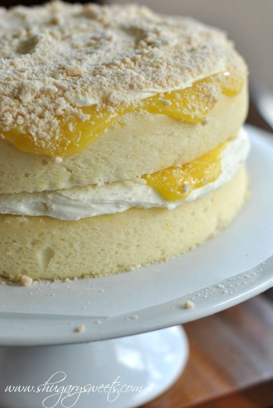 Homemade Lemon Cake with a layer of creamy lemon frosting and fresh lemon curd #cakerecipe #lemon @Liting Mitchell Mitchell Mitchell Mitchell Mitchell Mitchell Wang Sweets