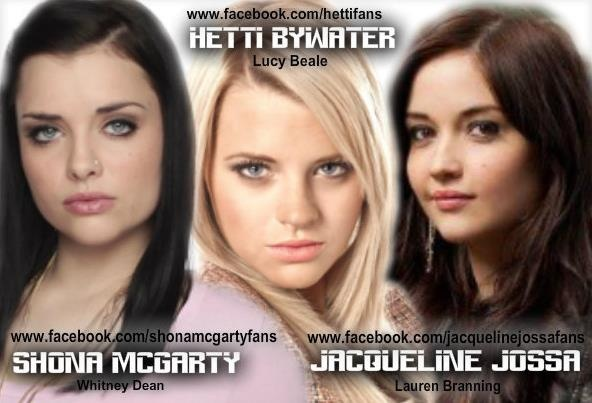 Witney, Shona McGarty Lucy, Hetti Bywater and Laura, Jaqueline Jossa