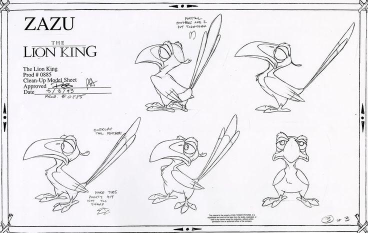 Walt Disney Animation Studios - The Lion King (1994) Clean-Up Model Sheets - Zazu © Disney