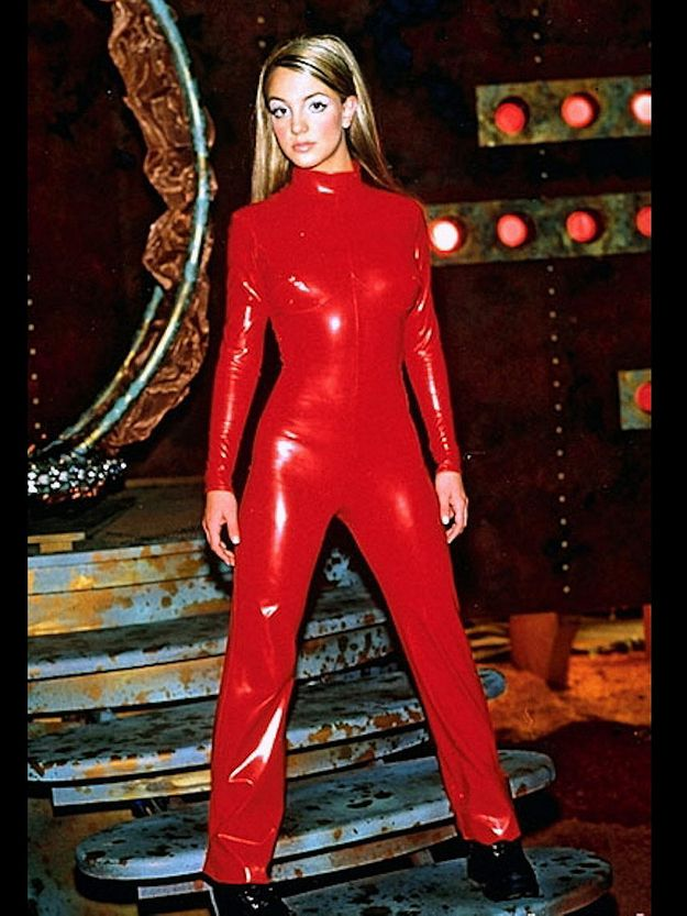 Britney Spears on the set of the Oops! . . . I Did It Again music video.