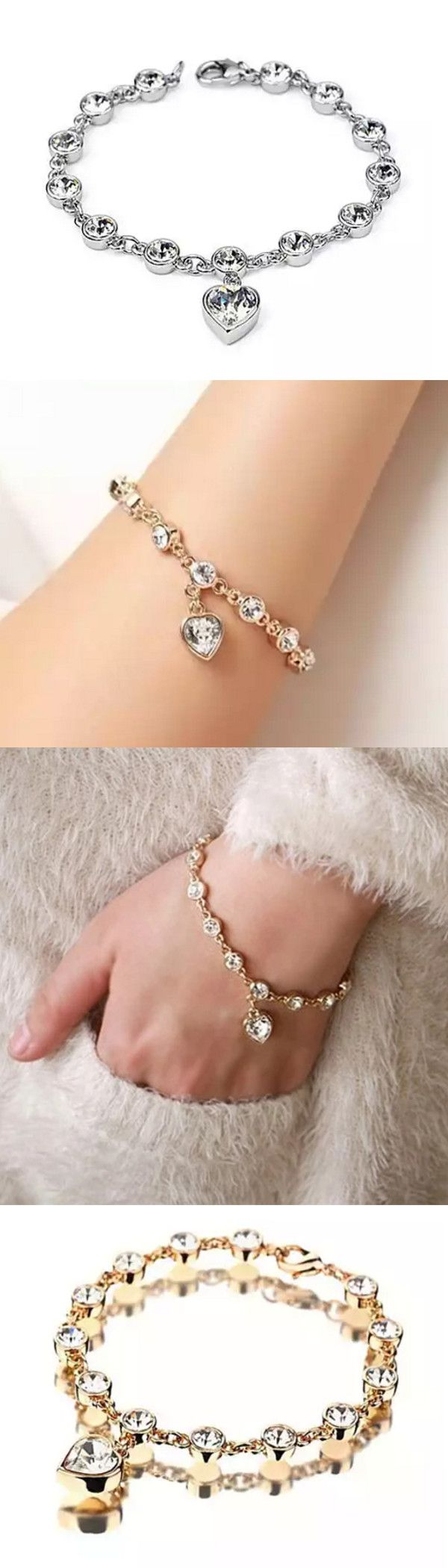 Stunning bracelet, perfect to wear day or night, chic and classic with jeans or with your little back dress. Dazzled with Austrian Swarovski Elements Crystals and featuring a dangling crystal heart. Also, they make a beautiful gift for any occasion.