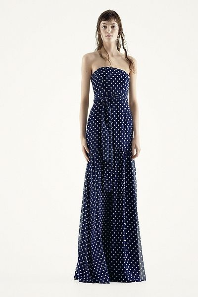 White by Vera Wang - MORE COLORS Strapless Polka Dot Chiffon with Sash Style VW360218 In Store & Online $198.00  davidsbridal.com