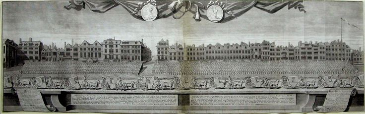 George Vertue Copper engraving Vertue's panoramic work is composed of two sheets and joined in the middle. The plates were commissioned by Sir Richard Hoare, who was Lord Mayor at the time. His grandson, Henry Hoare, then endowed them to the Society of Antiquaries of London. The plates were later republished in 1774. <br /><br />George Vertue's depiction of national rejoicing celebrated the Peace of Utrecht which followed the Duke of Marlborough's series of victories against the French. In…