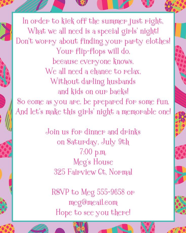 16 best Flip Flop Brunch images on Pinterest Beaches, Birthdays - invitation wording ideas for dinner party